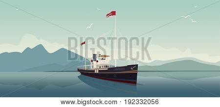 Retro Steamer Sails Into Open Sea On Clear Day