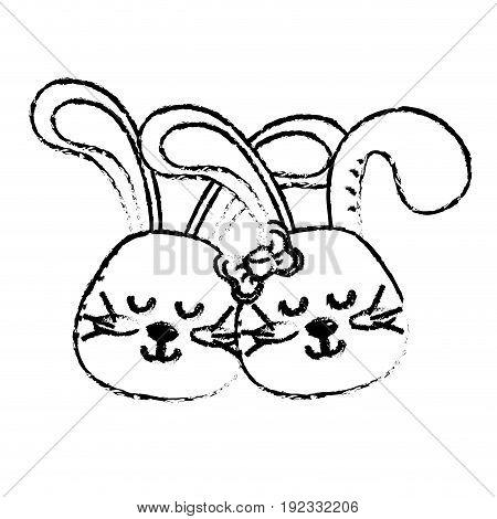 figure cute animal couple rabbit head together vector illustration