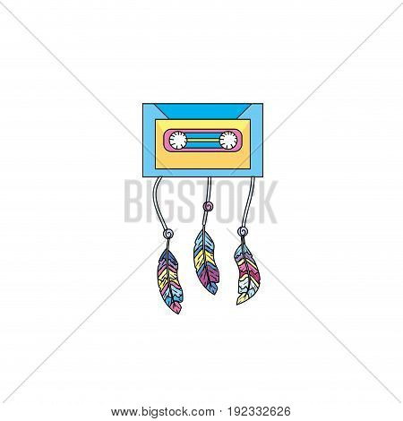technology cassete with feathers design vector illustration