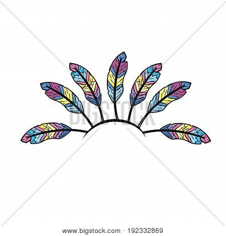 beauty diadem of feathers design decoration vector illustration