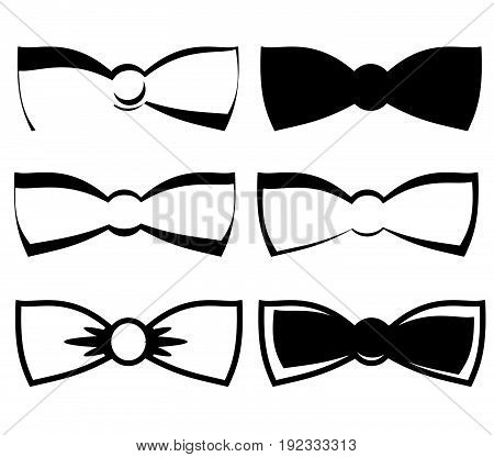Vector bow tie black symbols. Set of bow.