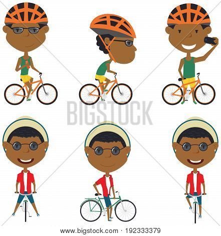 Collection of African-America bicycle rider boys. Vector set of cyclist teenagers isolated on white background. Kid on a bike flat style illustration. Cycling.