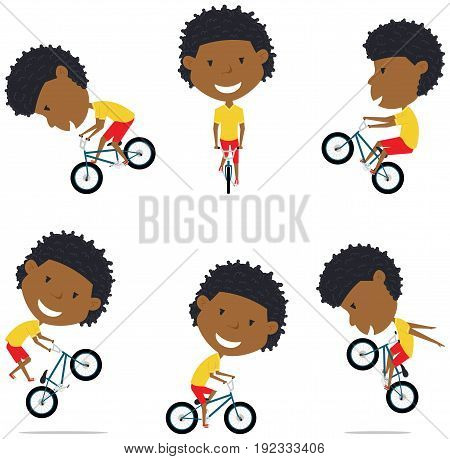 BMX Bike African American Rider Boy. Bicycle activity: cycling jumping tricks. Extreme sport racer vector flat style illustration