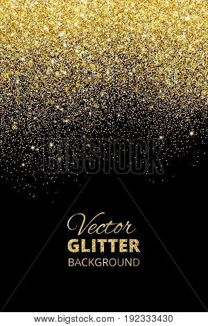 Festive black background with falling glitter confetti, golden dust. Sparkling glitter border, vector frame. Great for wedding invitations, party posters, christmas, new year and birthday cards.