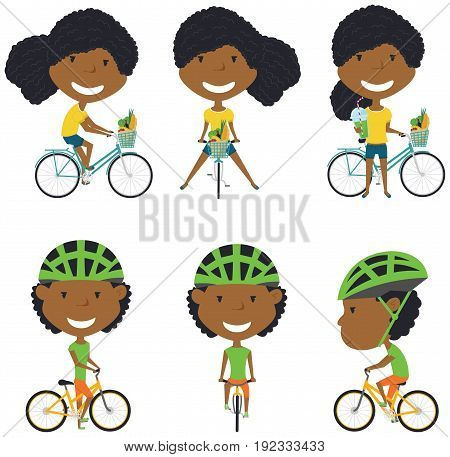Collection of African American bicycle rider girls. Vector set of cyclist teenagers isolated on white background. Woman on a bike flat style illustration. Cycling.