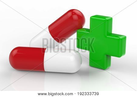 3d rendering green cross and capsule pill on white background