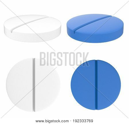 3d rendering white and blue tablet pills isolated on white
