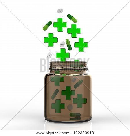 3d rendering green cross and pills falling into the bottle