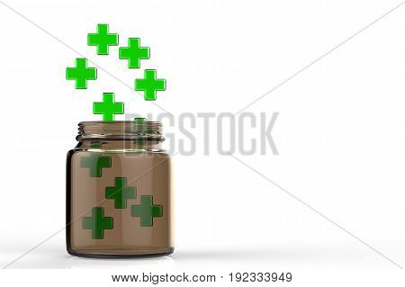 3d rendering green cross falling into the bottle on white background