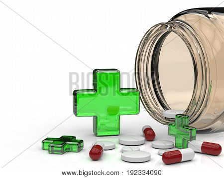 3d rendering green cross and pills spill out of bottle
