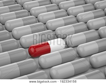 leadership concept with 3d rendering red capsule among grey capsules