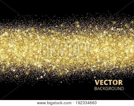 Sparkling glitter border on black. Festive background with golden dust. Golden rectangle of glitter confetti. Great for wedding invitations, party posters, christmas, new year and birthday cards.