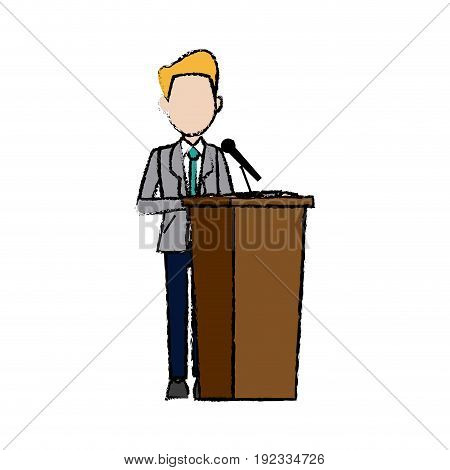 Politician man standing behind rostrum and giving a speech. Vector illustration