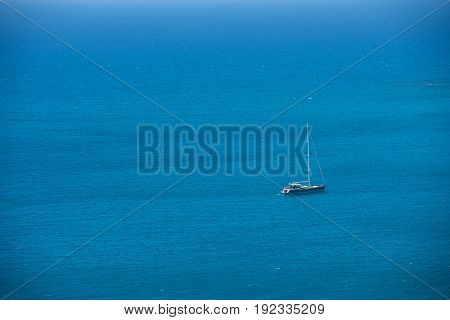 Alone Yacht Sailing In Open Sea