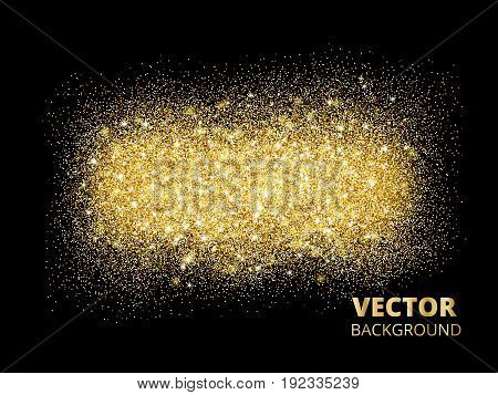 Sparkling glitter texture on black background, vector golden dust. Golden rectangle of glitter confetti. Great for wedding invitations, party posters and flyers, christmas and birthday cards.