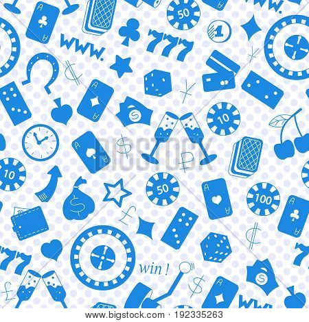 Seamless pattern on the theme of gambling and money a blue silhouettes of icons on the background of polka dots