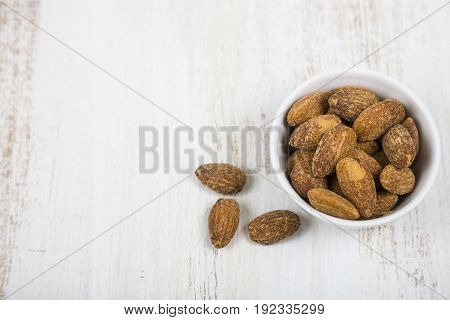 Almond On A  Wooden Table