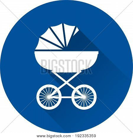 Pram icon. Vector. White baby carriage on blue background. Baby shower simple symbol of buggy in flat design with long shadow.