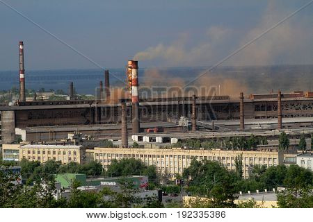 Volgograd Russia - June 24 2014: View of the industrial area of the factory