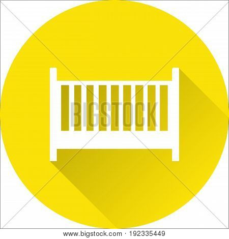 Cot baby icon. Vector. White crib on yellow background. Baby shower simple symbol of children's bed in flat design with long shadow.