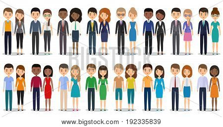 Flat people characters. Vector. Men women in casual and business clothes standing together. Cartoon males females isolated on white background. Icons businessmen and businesswomen.