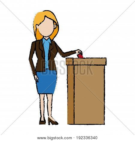 woman casting her vote at the ballot box vector illustration