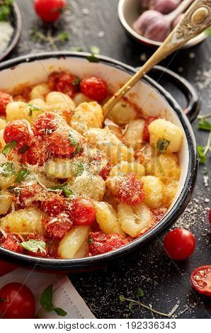 Potato gnocchi with cherry tomato sauce, delicious and nutritious vegetarian dish