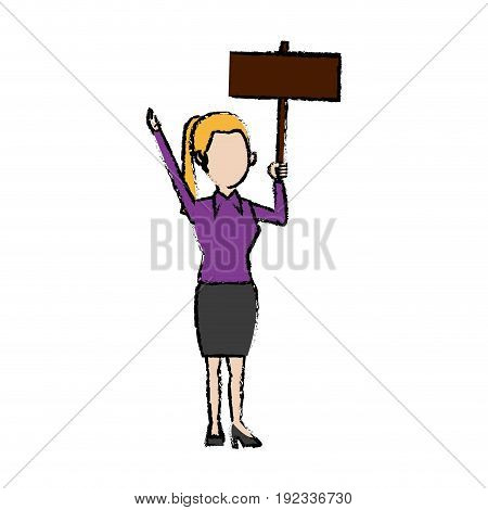 cartoon woman holding placard election voting vector illustration