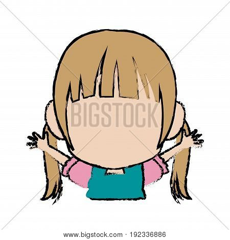 manga anime girl chibi character little vector illustration