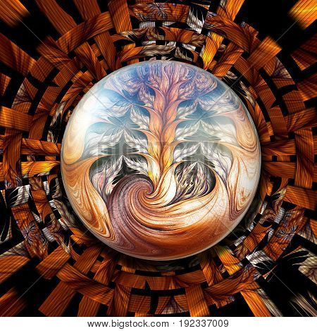 3D rendering combo artwork with brown weave fractal background and glossy ear-like fractal button