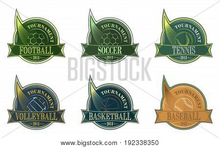 Set Of Sport Emblem With Ball. Football, Soccer, Volleyball, Basketball, Baseball And Tennis Vector