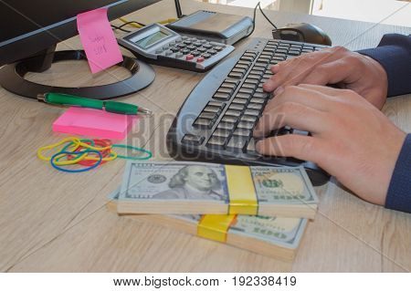 Man make money by business online. Business proposal pictures. Make money easy online