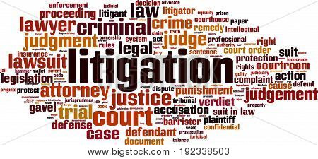 Litigation word cloud concept. Vector illustration on white