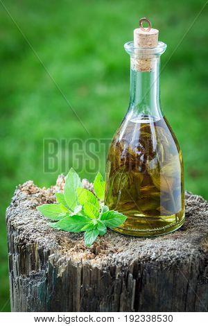 Homemade Liqueur Made Of Alcohol And Garlic