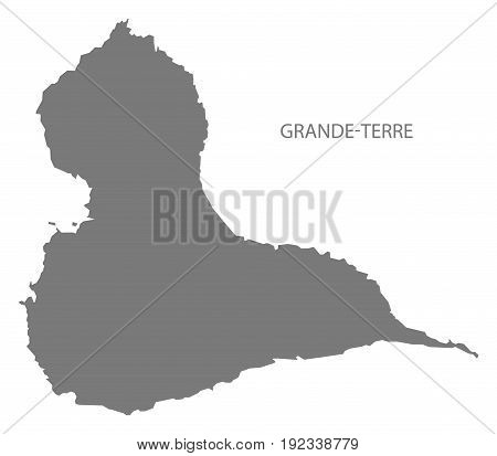 Grande-terre Island Of Guadeloupe Map Grey Illustration Silhouette