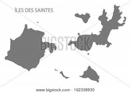 Iles Des Saintes Map Grey Illustration Silhouette