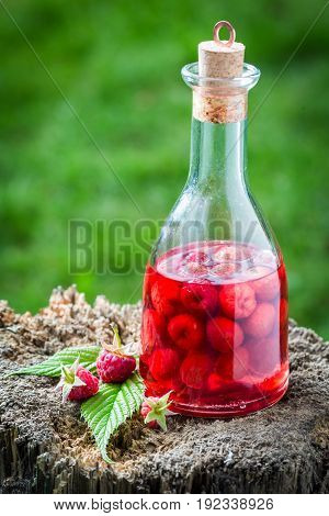 Healthy Raspberries Liqueur Made Of Alcohol And Fruits In Summer