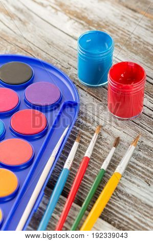 Paint Brushes On Wooden Background, Special Tools For Creative People, Back To School, Education Bac
