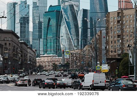 MOSCOW RUSSIA - JUNE 6 2017: Old Moscow and modern skyscrapers of business center