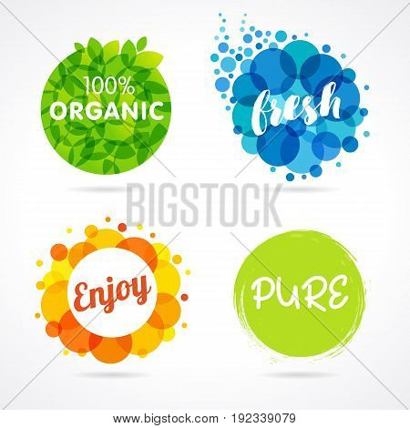Organic, Fresh, Enjoy, Pure colored labels. Vector inscription words Organic, Fresh, Enjoy, Pure with color circle green leaf and colorful bubbles
