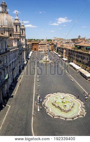 Rome Italy - June 18 2017: Aerial view of Piazza Navona. Many tourists enjoy this international landmark