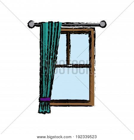window with curtain inerior decoration vector illustration