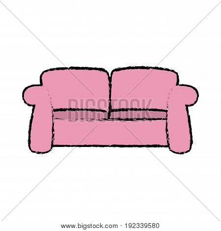 pink sofa furniture comfort seat vector illustration