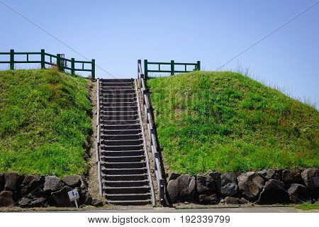 Concrete Stair To View Point In Akita, Japan