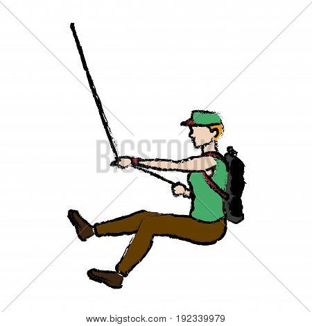 man figure hanging climber with rope vector illustration