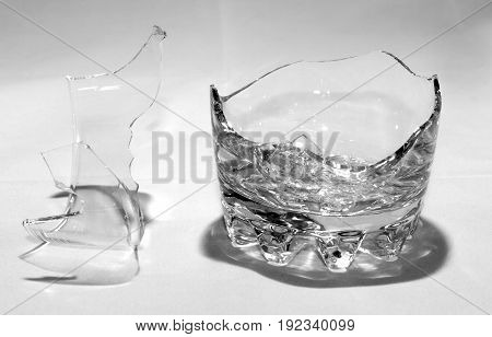Broken Whiskey Glass With Shrapnel