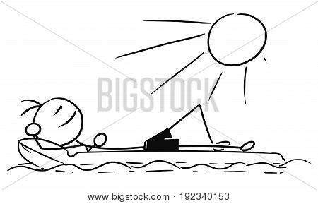 Cartoon vector stickman smiling enjoying sailing a airbed air mattress on summer vacation holiday