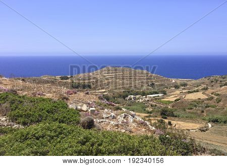 Beautiful landscape and scenery at Bahrija in Malta. Maltese landscape. Bahrija area in Malta. Visit Malta, Europe