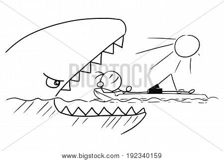 Cartoon vector stickman smiling enjoying sailing a airbed air mattress on summer vacation holiday while attacked by giant fish or shark with open mouth