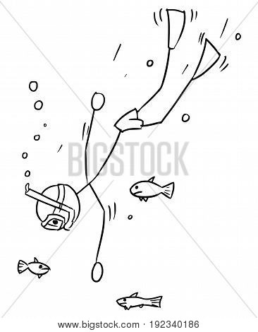 Cartoon vector stickman free diver going deep with fish around on summer vacation holiday
